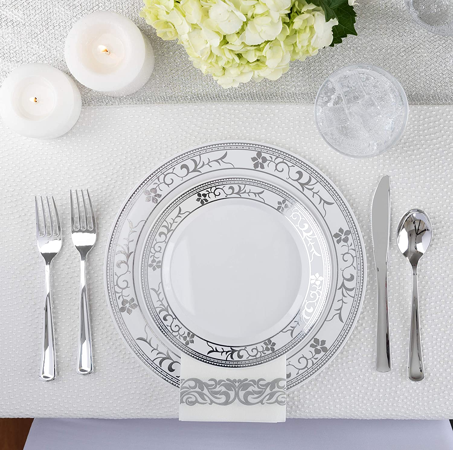 Knives Spoons Forks Elegant Plastic Dinnerware with Wedding Plates /& Cutlery 125-Piece Gold Disposable Plates /& Gold Plastic Silverware- Service for 25 Guests Fancy Plastic Dinner Plates