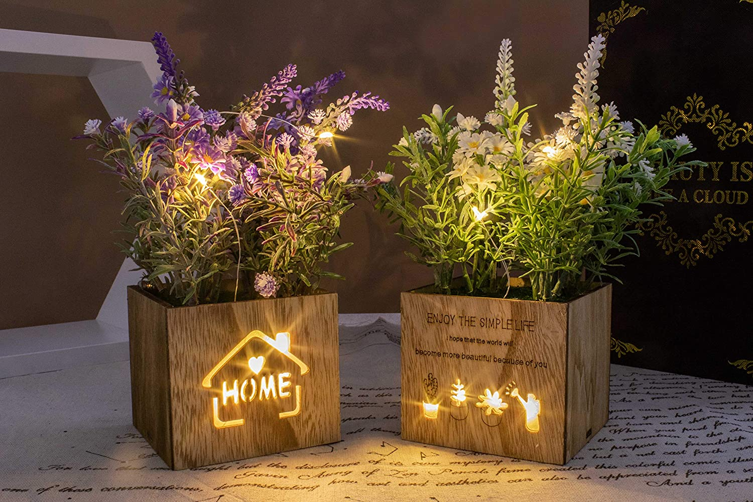 BEGONDIS Set of 2 Artificial Flowers with Led Lights in Wooden Box, Artificial Plants Plastic Fake Topiary for Home/Office Decorations, Table Centerpiece (led Flower Set of 2)