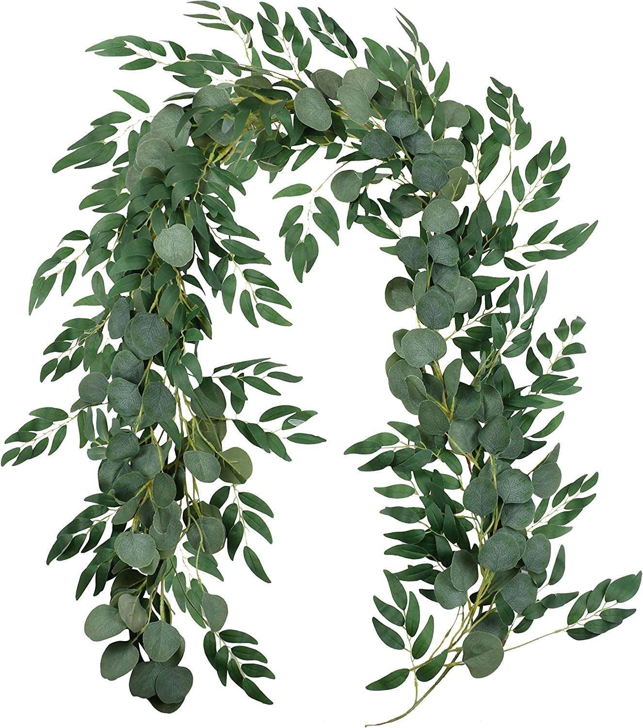 Aonewoe Artificial Eucalyptus and Willow Vines 2 Pcs Silk Faux Garland for Wedding Backdrop Arch Wall Decor Table Runner Vine