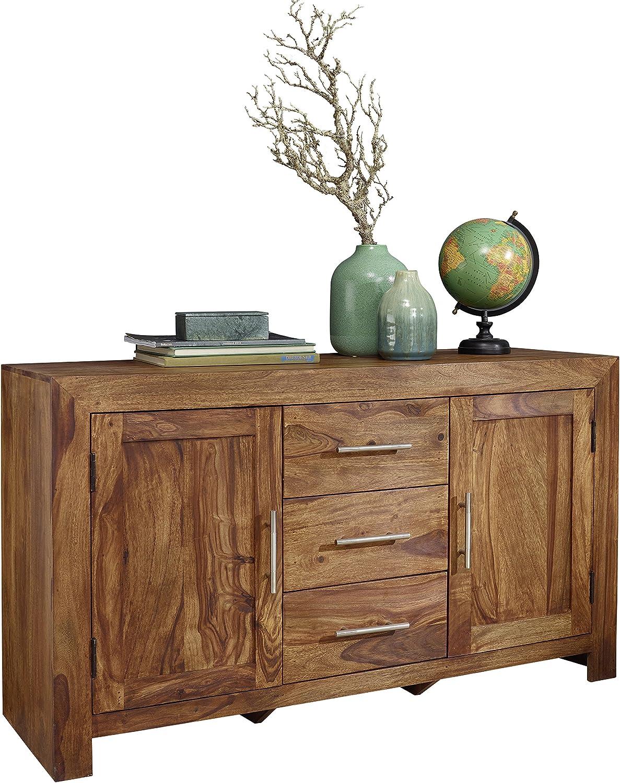 Wohnling Sheesham cómoda 3 cajones 118 cm aparador 2 puertas Design aparador alto de estilo rústico marrón Natural de madera de cajón cómoda muebles cuchillas de almacenamiento muebles de producto de estera