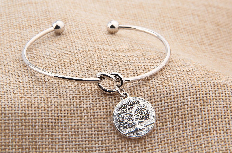 Simple Love Knot with Family Tree Charm Bangle-Family Wedding Wishes Gift for Girl-Family Tree Jewelry FEELMEM Family Tree Bracelet Love Knot Bracelet