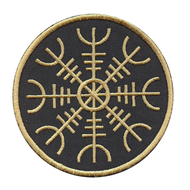 Golden Aegishjalmr Viking Helm of Awe Terror Protection Rune モラール ベルクロ面ファスナー パッチ Patch   B01MPVMBPM