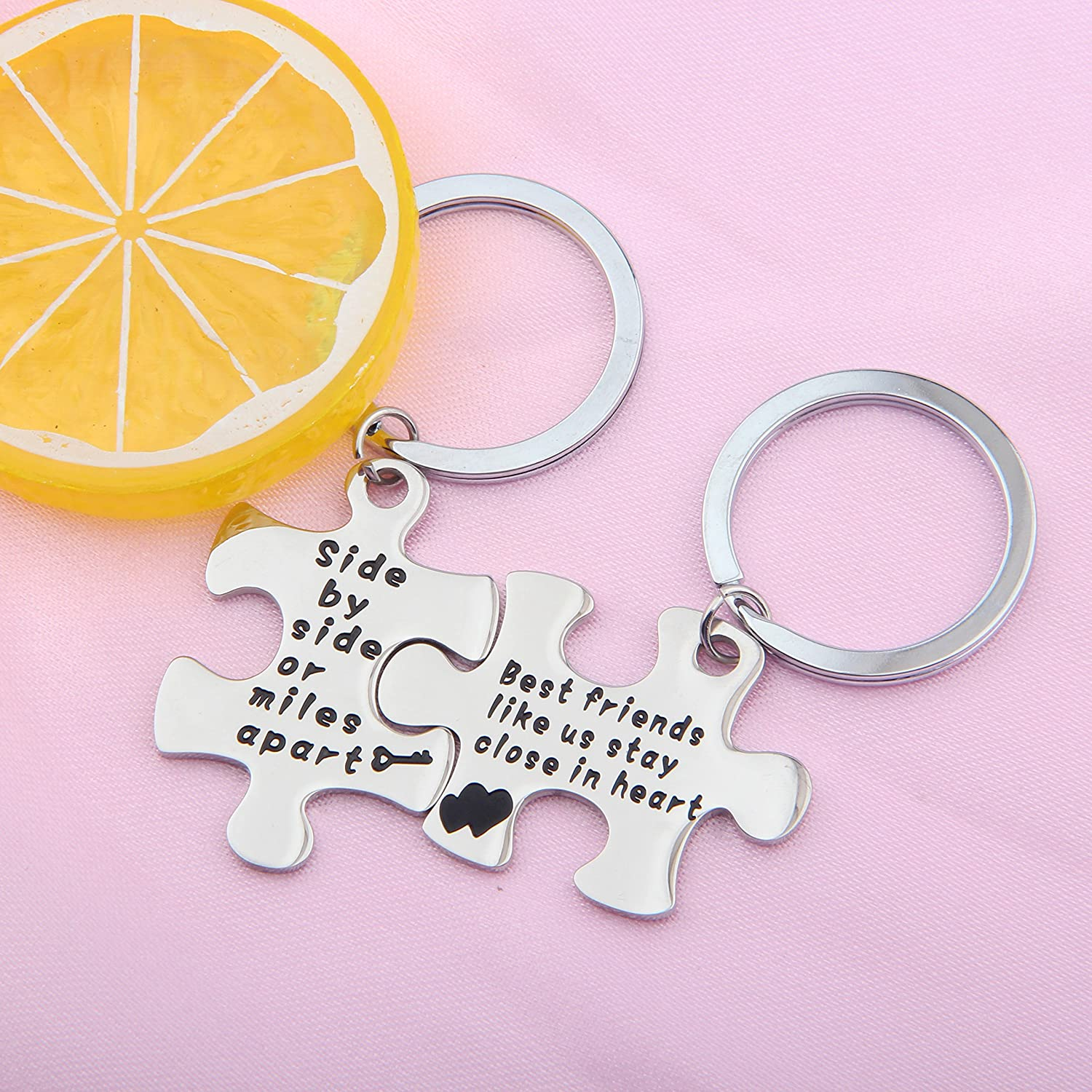 Seiraa Side By Side Or Miles Apart Keychain For Best Friends Bff