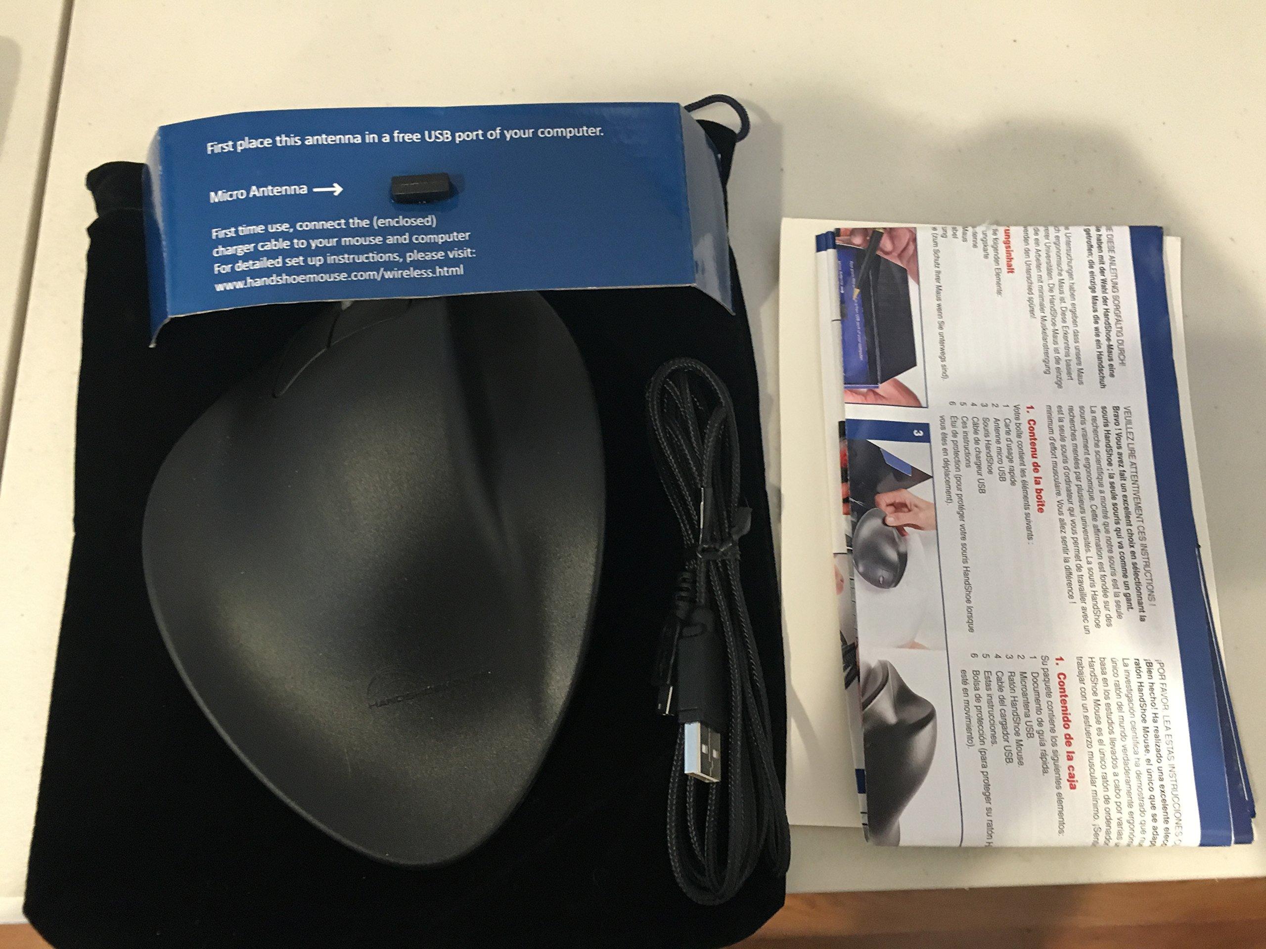 Hippus Wireless Light Click HandShoe Mouse (Left Hand, Medium, Black)