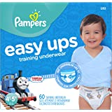 Pampers Easy Ups Training Pants Pull On Disposable Diapers for Boys Size 6 (4T-5T), 60 Count, SUPER