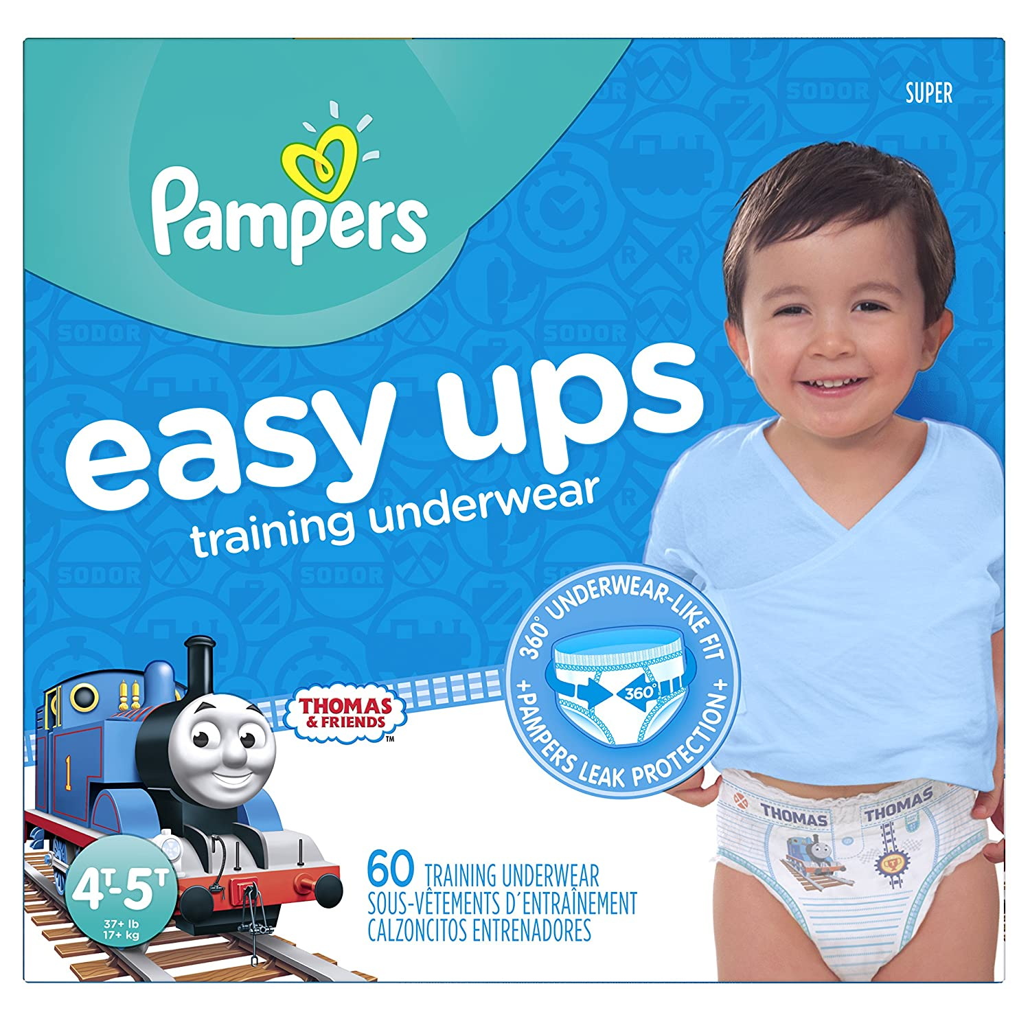 Pampers Easy Ups Pull On Disposable Training Diaper for Boys, Size 6 (4T-5T), Jumbo Pack, 18 Count Procter and Gamble