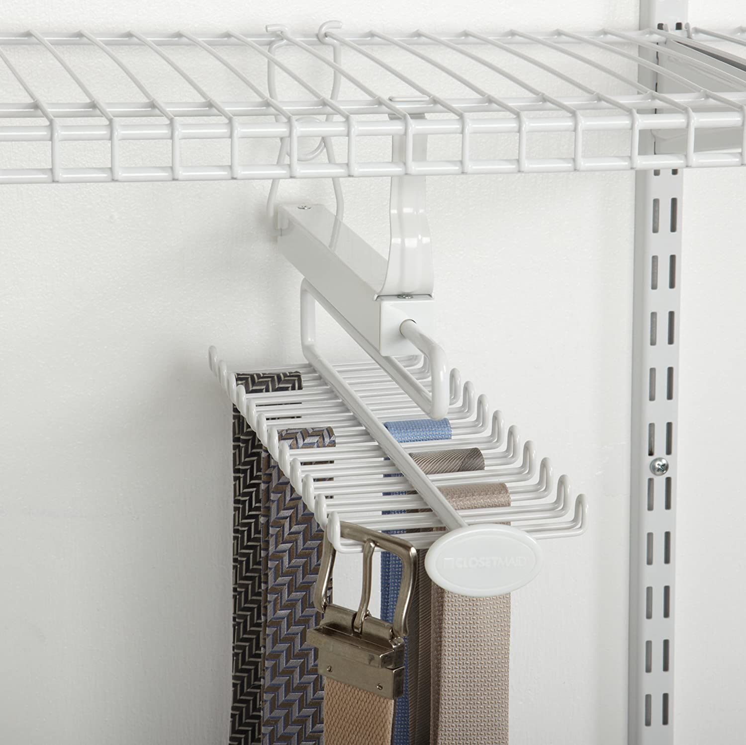 Amazon.com: ClosetMaid 8060 Sliding Tie U0026 Belt Rack For Wire Shelving,  White: Home U0026 Kitchen