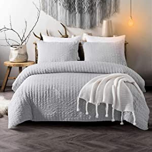 Cozyholy Seersucker Duvet Cover Set 3-Piece Nature Style Water-Washed Microfiber Bedding Set with Zipper and Corner Ties (Light Grey, King)