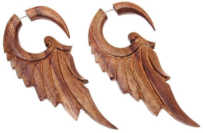 Pendientes/piercings para dilataciones falsas de oreja, estilo étnico unisex de madera, espirales vendidos por pares