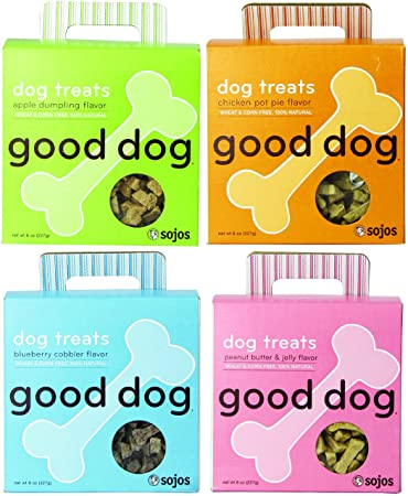 Sojos Good Dog Treats Mixed 8 oz x 4 packs Apple Dumpling, Chicken Pot Pie, Blueberry Cobbler, and Peanut Butter Jelly Flavors