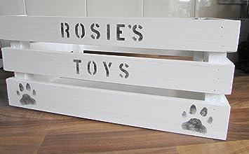 Medium Personalised Wood Pet Dog Cat Toy Treats Grooming Storage Box