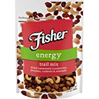 FISHER Snack Energy Trail Mix, 3.5 oz (Pack of 6), Dried Sweetened Cranberries, Peanuts, Cashews, Almonds