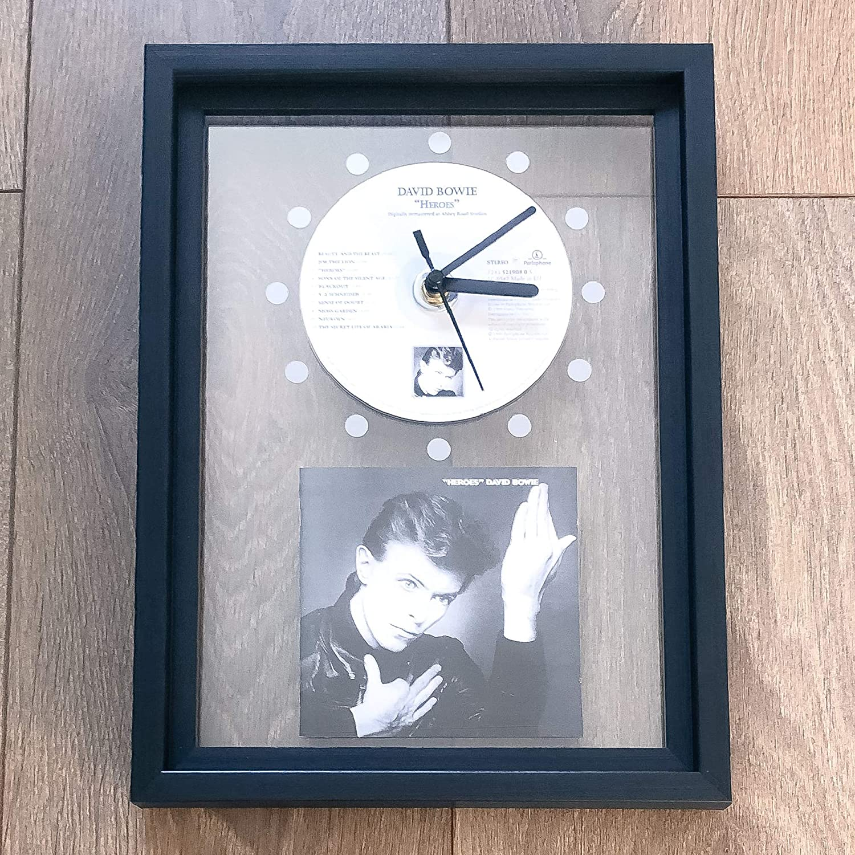 FRAMED CD ART CLOCK//Exclusive Design DAVID BOWIE Heroes