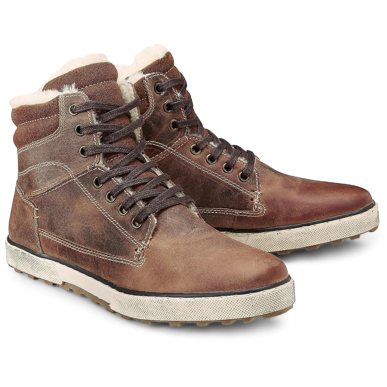 dc26c1a1faf708 Cox Herren Winter Sneaker - Winterstiefel - Boots - Glattleder - hoher  Stiefel - Rutschhemmende Profilsohle - Sneaker gefüttert braun Rauleder 41   Cox  ...