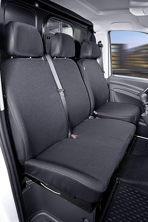 Walser 10508 Autoschonbezug Transporter Passform Stoff Sitzbezug Anthrazit Kompatibel Mit Mercedes Benz Viano Vito Einzel Doppelbank Auto
