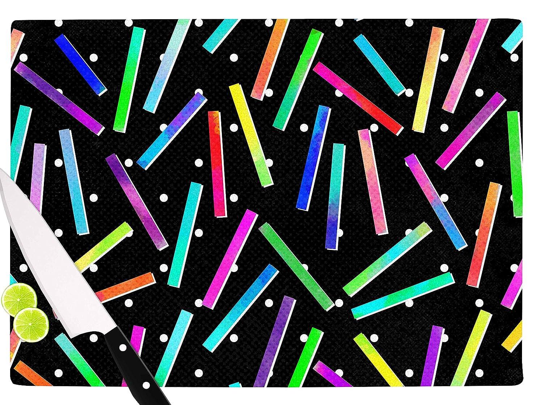 Multicolor KESS InHouse Noonday DesignConfetti Party Black Cutting Board 11.5 x 15.75