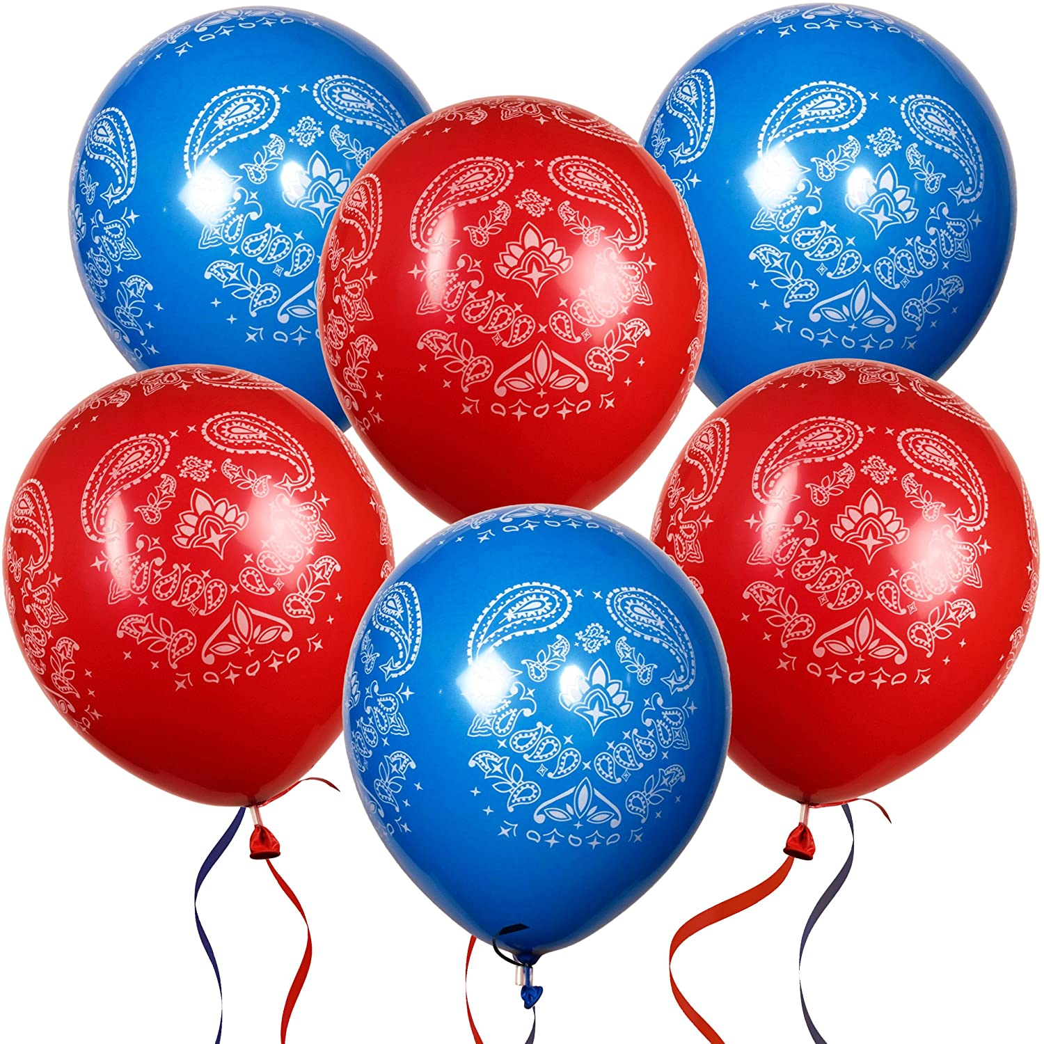 36 Bandana Balloons 12 Latex Balloon in Red and Blue for Western Cowboy Theme for Kids Birthday Party Favor Supplies Decorations by Gift Boutique