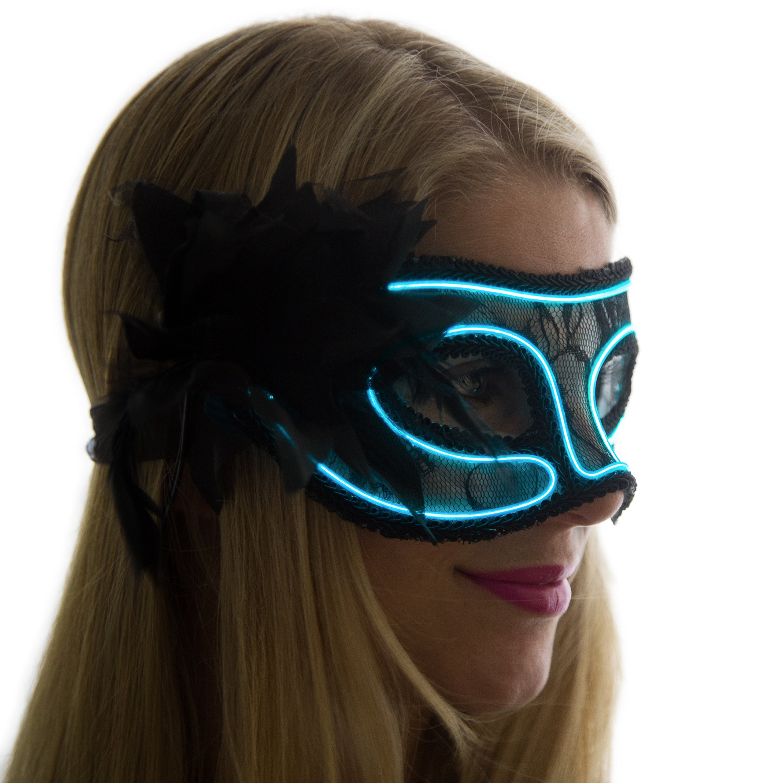 Neon Nightlife Women's Light up Venetian Mask Mardi Gras Masquerade, Aqua