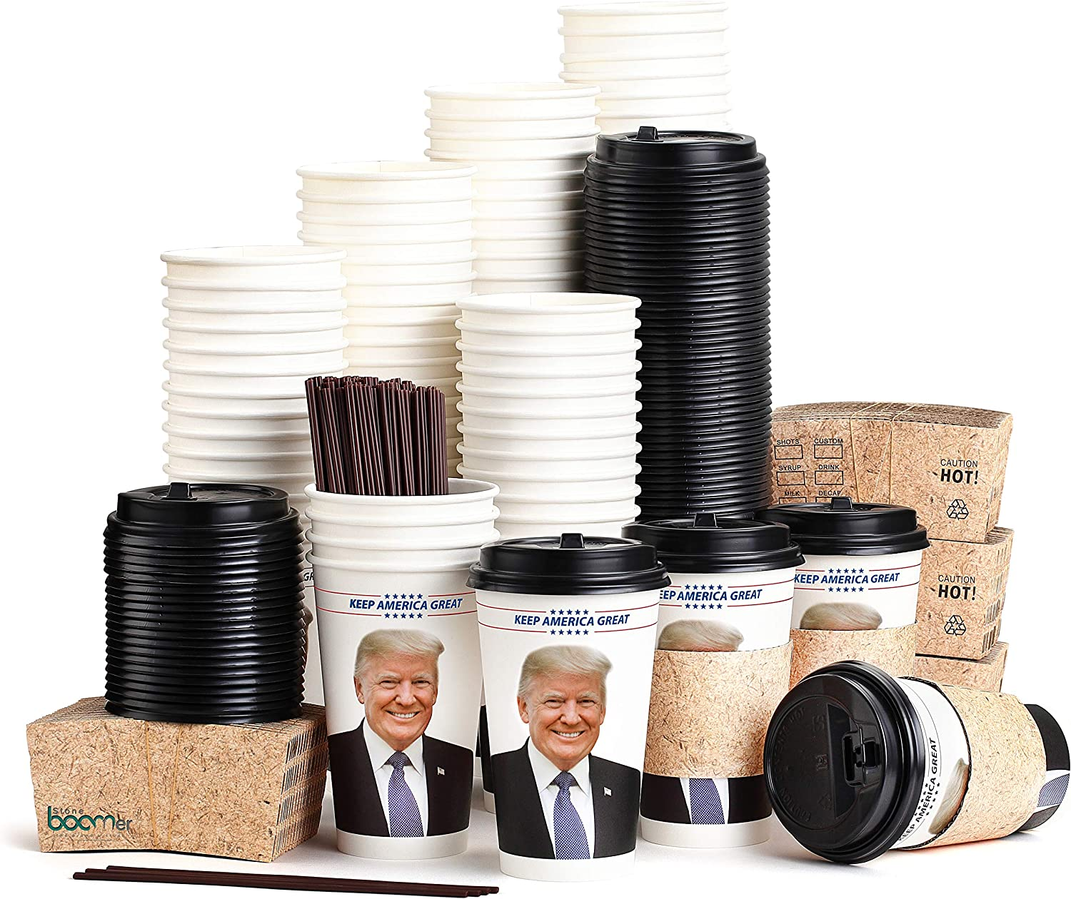 Trump Coffee Cups - 16 Ounce, Set Of 100, Sleeves, Black Lids & Stirrer Straws, Travel To Go Coffee Cups - Disposable Coffee Cups, Paper Coffee Cups - Like Starbucks, coffee cup, By Stone boomer
