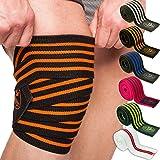 Profesional de C.P. Sports T25–Venda para rodilla (200cm, ideal para deportes de fuerza, levantamiento de pesas, culturismo Color: Blanco, Naranja o negro