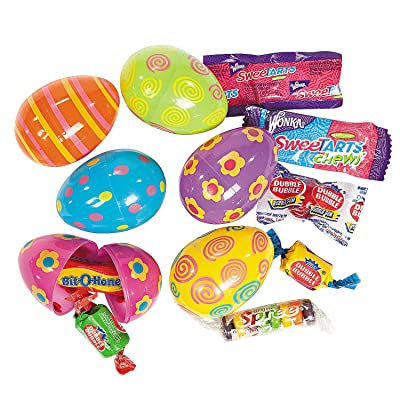 Fun Express - Candy Filled Bright Printed Eggs (2 Dz) for Easter - Party Supplies - Pre - Filled Party Favors - Pre - Filled Plastic Containers - Easter - 24 Pieces: Toys & Games