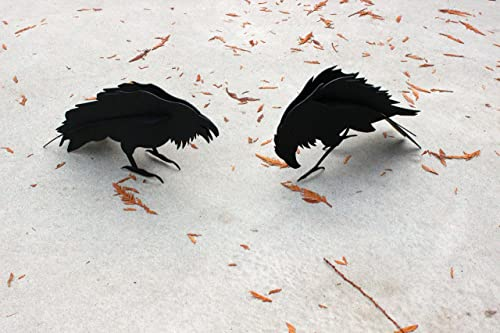 Ideal Garden Products Pair of Steel Old Crow Sculptures