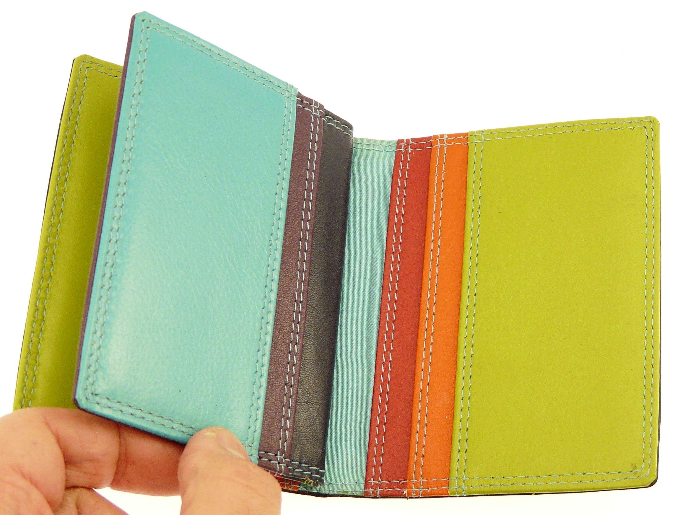 Black & Multi-color Leather Credit Card Holder / Wallet - Holds 10 Credit Cards by Neptune Giftware (Image #6)