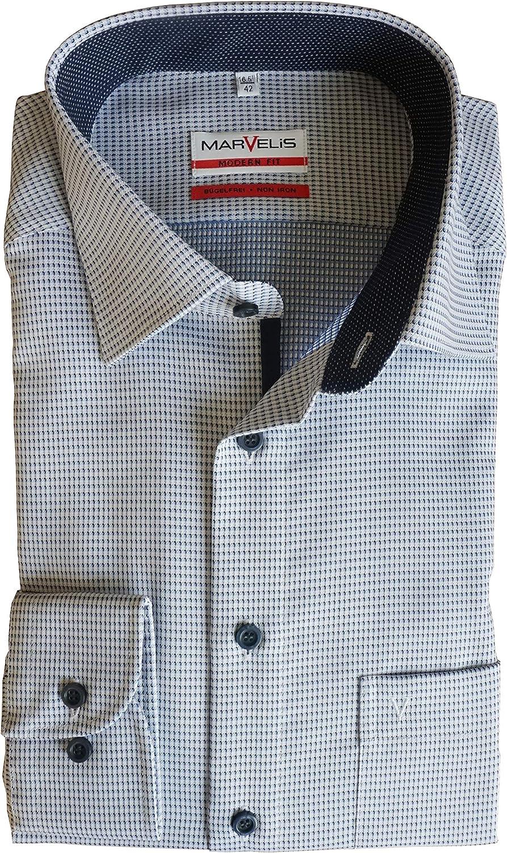 Marvelis Modern Fit Hemd Langarm New Kent Kragen Muster schwarz