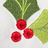 Embroidered Holly Square Tablecloth, 100% Cotton