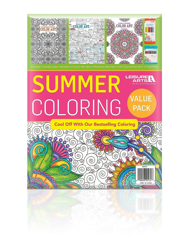 Color art mandala wonders - Amazon Com Coloring Value Bundle Summer Edition Kaleidoscope Wonders Mandala Wonders Ocean Wonders Gel Pens Colored Pencils