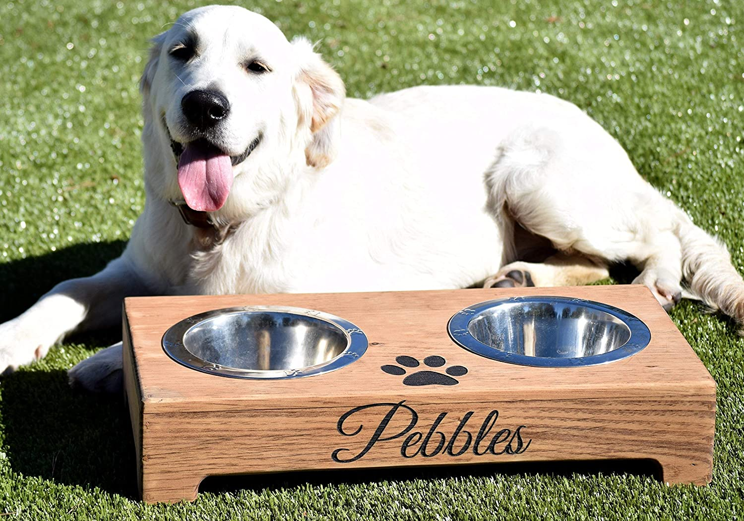 Raised Dog Feeder Rustic Dog Bowl Stand Elevated Dog Bowl Raised Dog Bowl Elevated Dog Feeder and Storage Box Pet Bowl Stand
