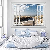 murimage Fotobehang strand raam 183 x 127 cm inclusief lijm venster uitzicht zee strand duinen Ocean Way behang