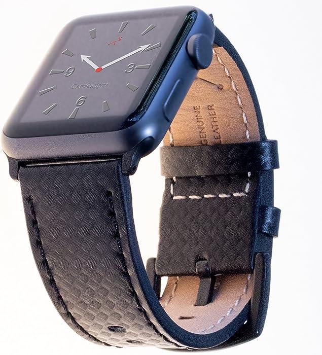 Carterjett Compatible Apple Watch Bands 42mm 44mm Genuine Leather Carbon Fiber Wrist Strap Replacement iWatch Band Classic Buckle Compatible Apple Watch Series 3 2 1 Series 4 Sport (42 44 M/L Black)