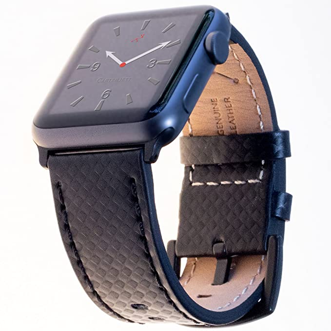 2039b07d8442 Carterjett Compatible Apple Watch Bands 42mm 44mm Genuine Leather Carbon  Fiber Wrist Strap Replacement iWatch Band