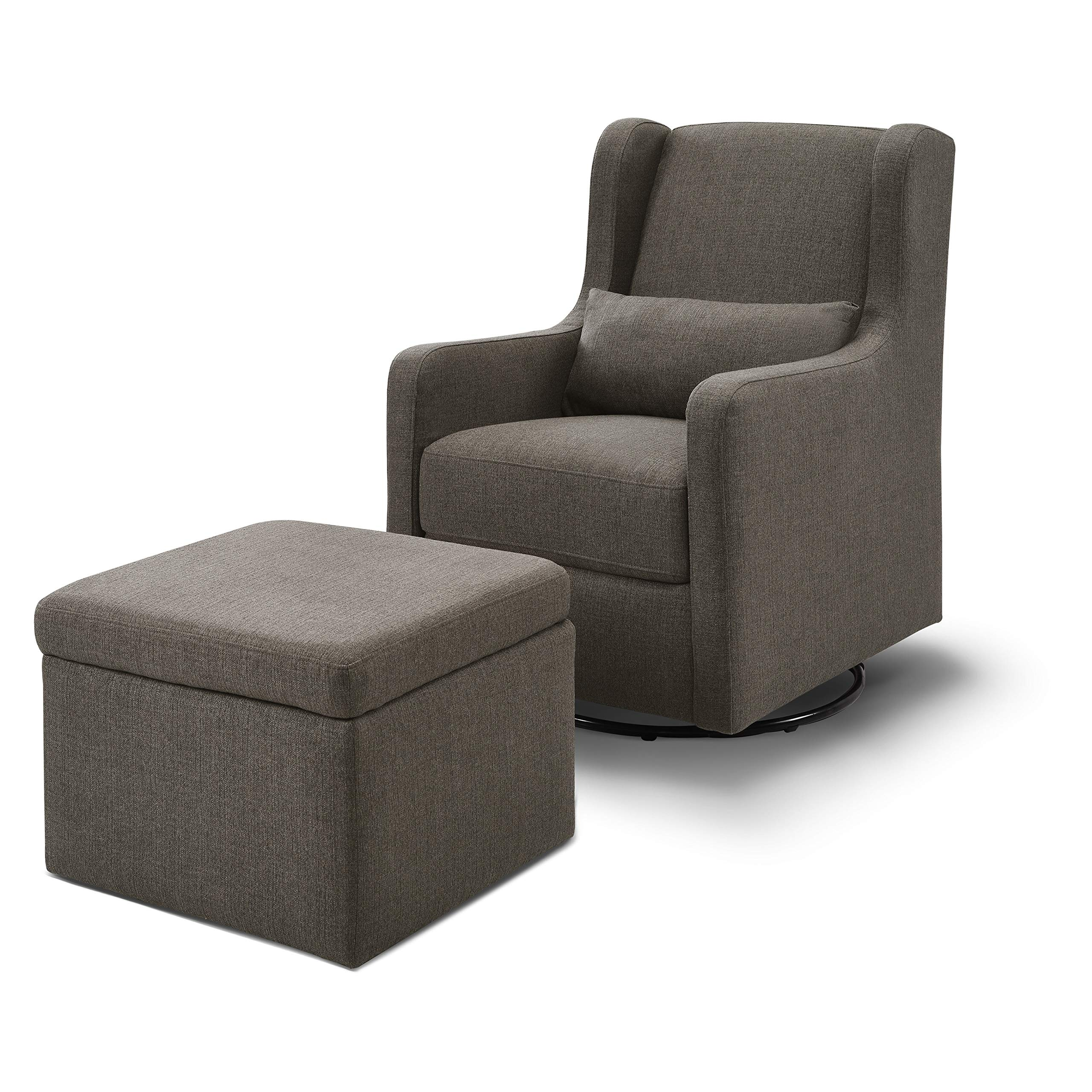 Carter's by Davinci Adrian Swivel Glider with Storage Ottoman in Water Repellent and Stain Resistant Fabric, Charcoal Linen