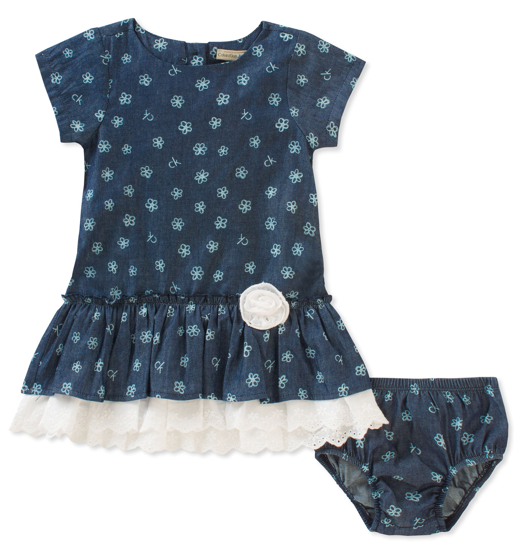 Calvin Klein Baby Girls Dress with Panty Set, core