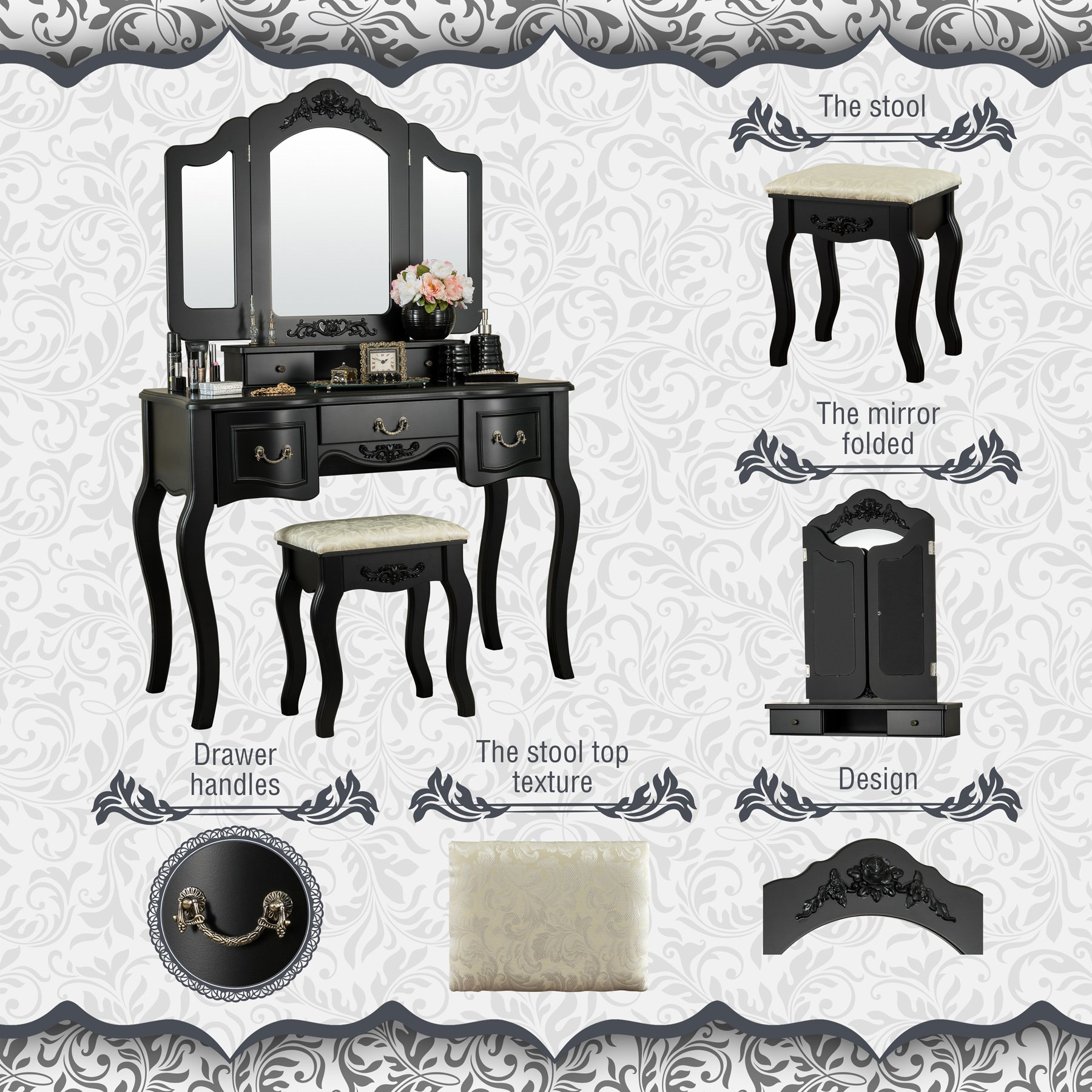 Fineboard CFB-VT04-BK Vanity Beauty Station Makeup Table and Wooden Stool 3 Mirrors and 5 Organization DrawersSet, Black by Fineboard (Image #3)