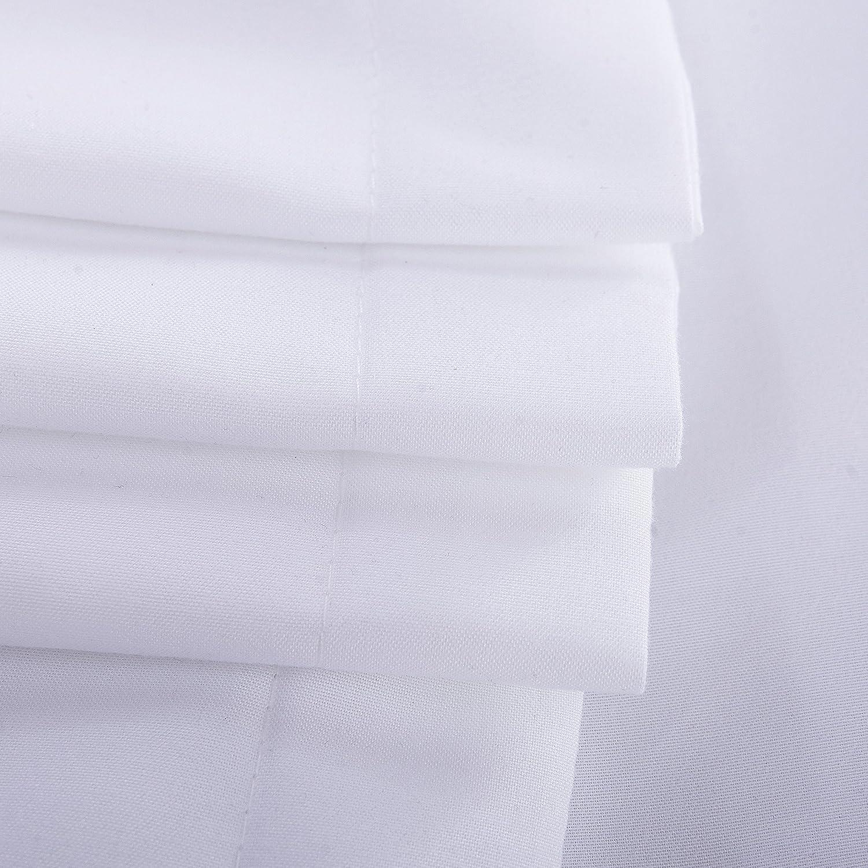 Blanco 1x Funda N/órdica para Edred/ón 100/% Poli/éster 85g//m/² 2x Fundas de Almohada y 1x S/ábana Bajera para Cama 135CM Juego N/órdico 4 Piezas