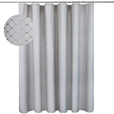 HOLKING Hotel Quality Polyester Fabric Shower Curtain, Rustproof Metal Grommets - Waffle Weave for Bathroom Showers and Bathtubs - 72  x 72 , 1 Piece, Grey