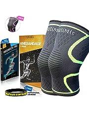 ULIMIT® Kniebandage Kompression für Kraftsport, Joggen und Anderen Sport Bei Meniskus, Arthrose und Knieschmerzen für Männer & Frauen Bei Bodybuilding Sowie Laufen auch für Damen Fitness