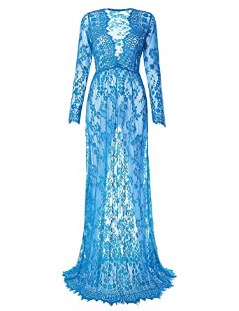 8b44acb46cd1 Saslax Women's Off Shoulder Ruffle Sleeve Lace Maternity Gown Maxi Photography  Dress at Amazon Women's Clothing store: