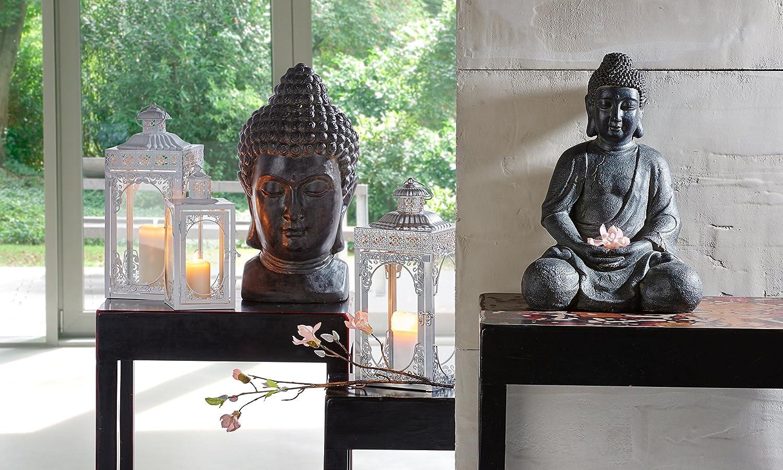 schwarz 27 x 25 x 49 cm greemotion 124228 Buddha Dekokopf