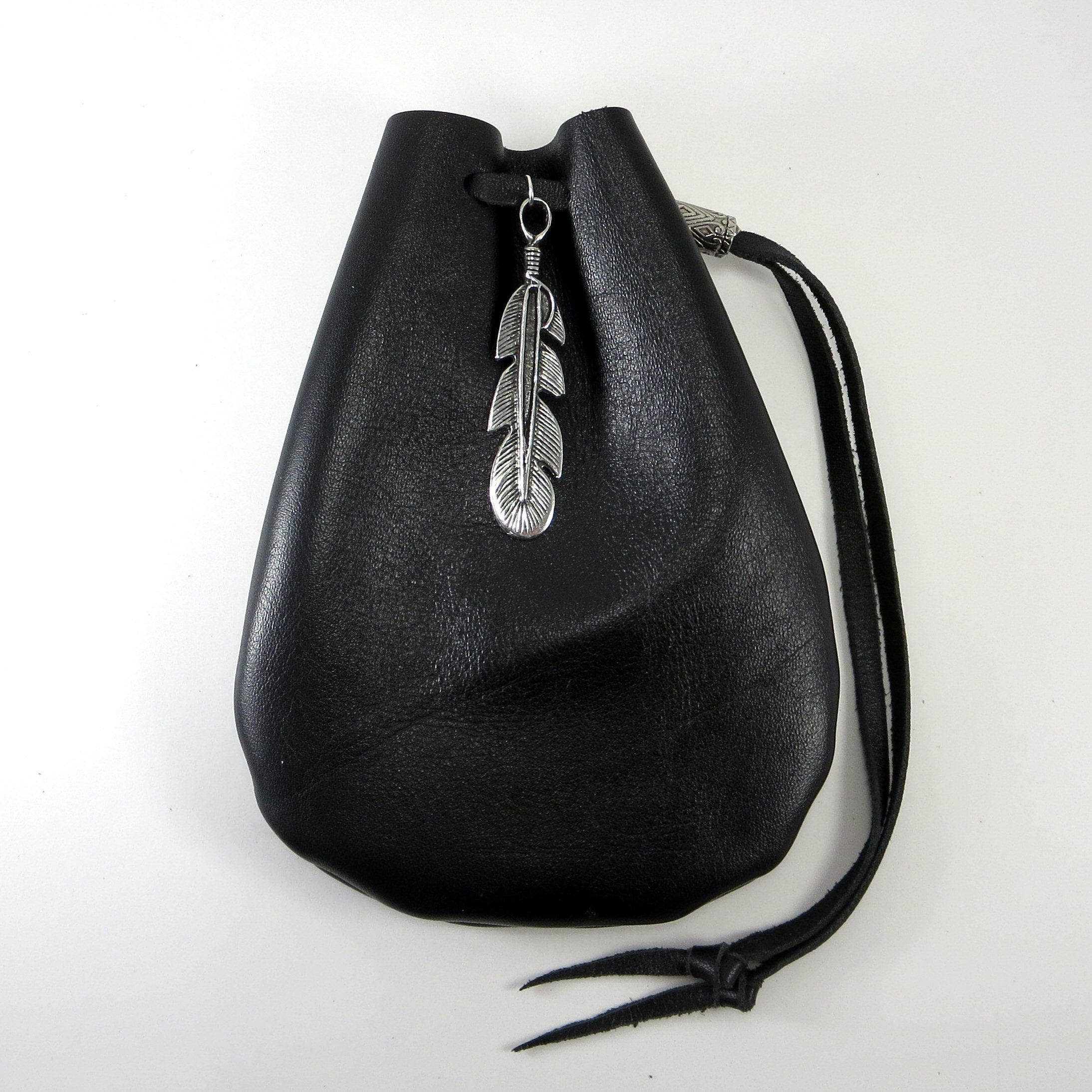 Black Leather Drawstring Pouch with Feather Pewter Accent and Bead