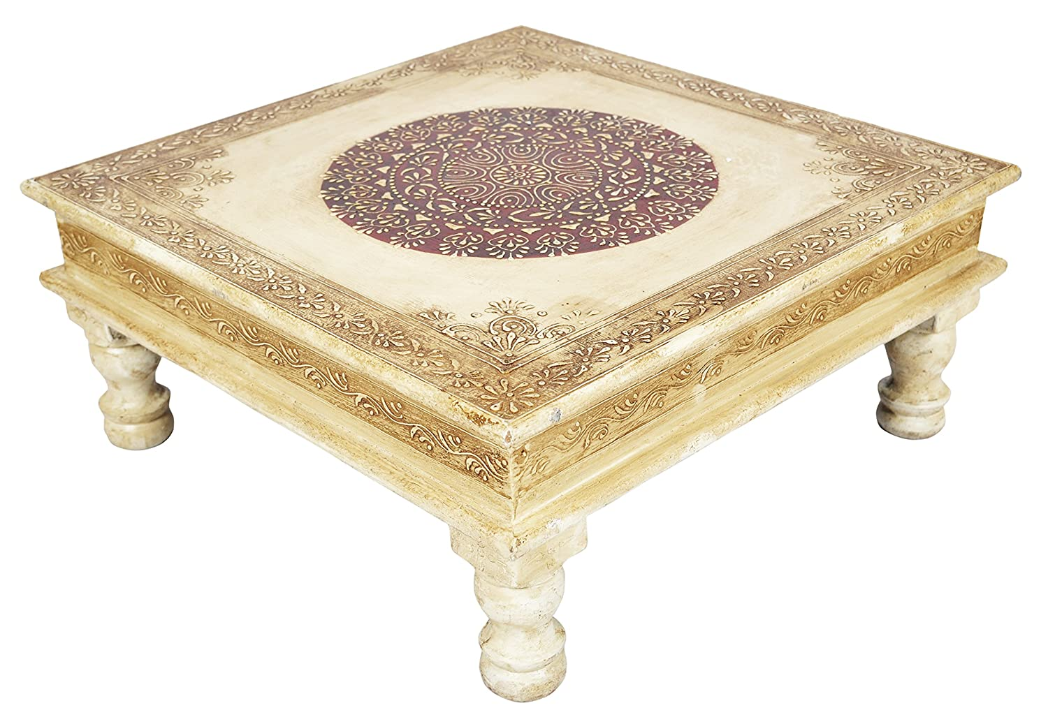 Amazon rajasthani handpainted wooden decorative bajot table amazon rajasthani handpainted wooden decorative bajot table 15 x 15 x 65 inches kitchen dining geotapseo Image collections