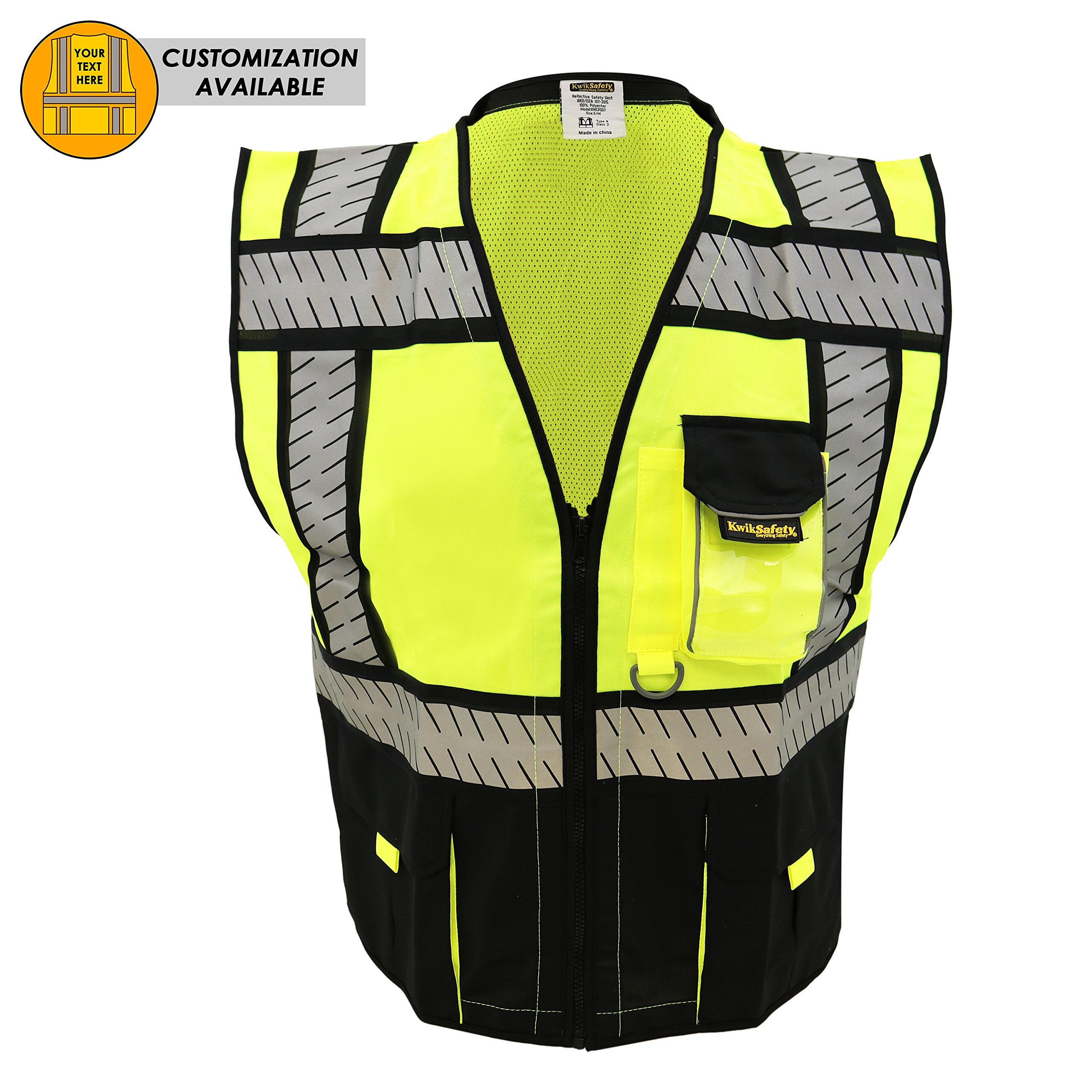 KwikSafety SPECIALIST Safety Vest | Class 2 ANSI OSHA PPE | High Visibility Reflective Stripes, Heavy Duty Mesh with Pockets and Zipper | Hi-Vis Construction Work Hi-Vis Surveyor Men | Black S/M