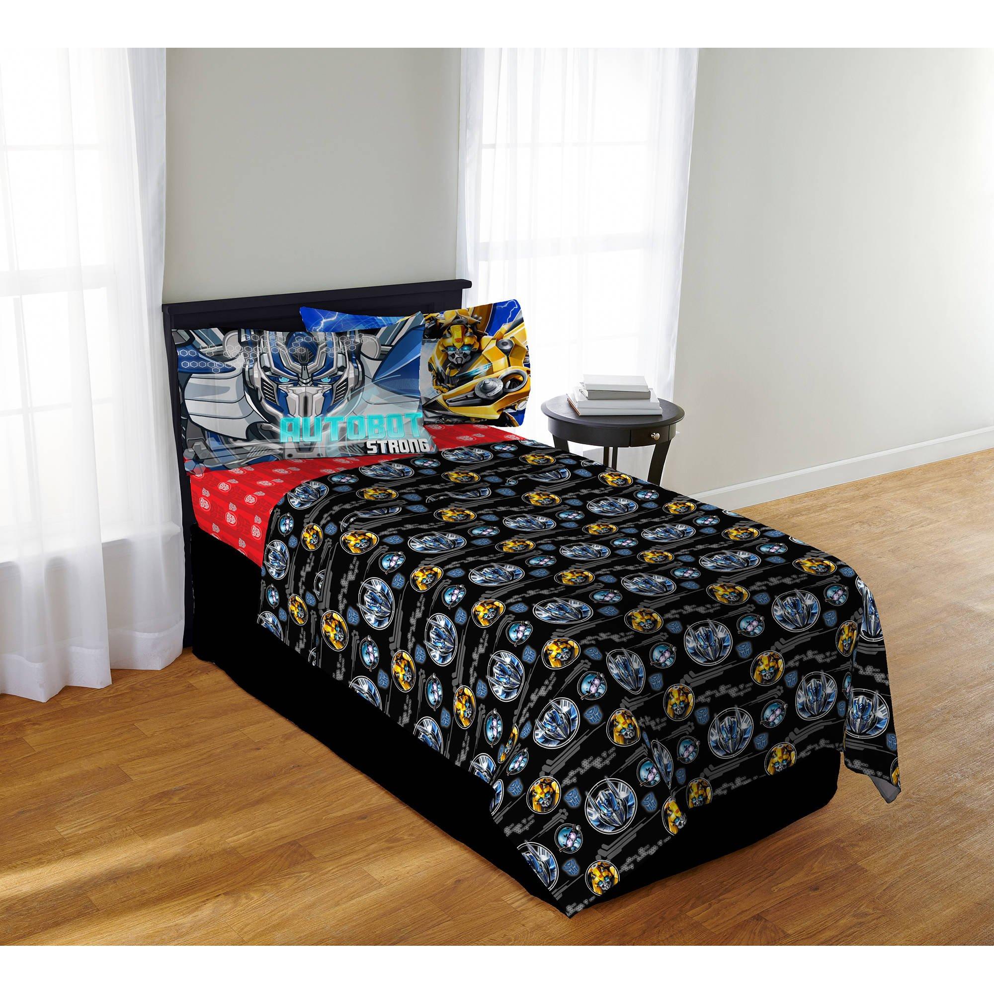 Transformers 5 Autobot Boys Twin Comforter, Sheets & BONUS SHAM (5 Piece Bed In A Bag) + HOMEMADE WAX MELTS