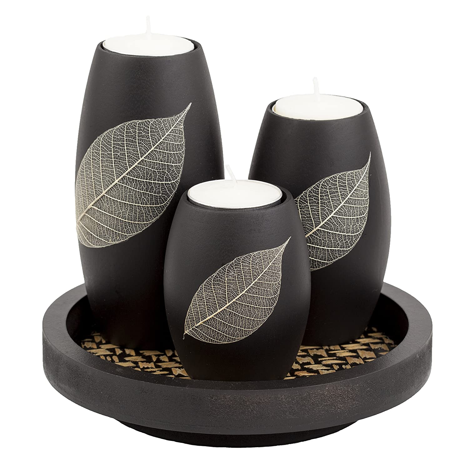 IYARA CRAFT Natural Candle Scape Set, 3 Decorative Candle Holders, Wood Tray(Leaf)