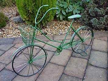 Green Bike Planter Garden Ornament 1 Front Basket Plant Holder Shabby Chic  Bicycle GIFT