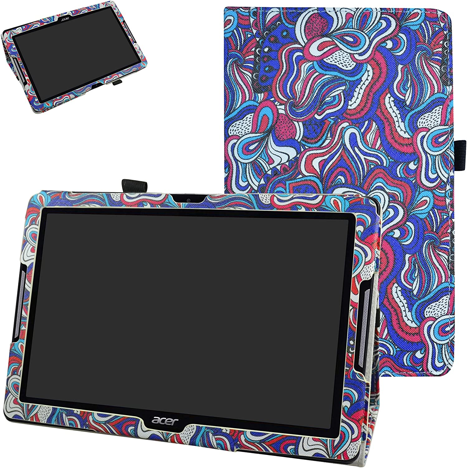 "Acer Iconia One 10 B3-A30 Case,Mama Mouth PU Leather Folio 2-Folding Stand Cover with Stylus Holder for 10.1"" Acer Iconia One 10 B3-A30 Android Tablet, Mushroom Fantasy"