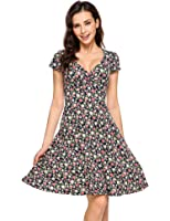 Zeagoo Women's Rayon Wrap Floral Print V Neck A-Line Flare Party Dress
